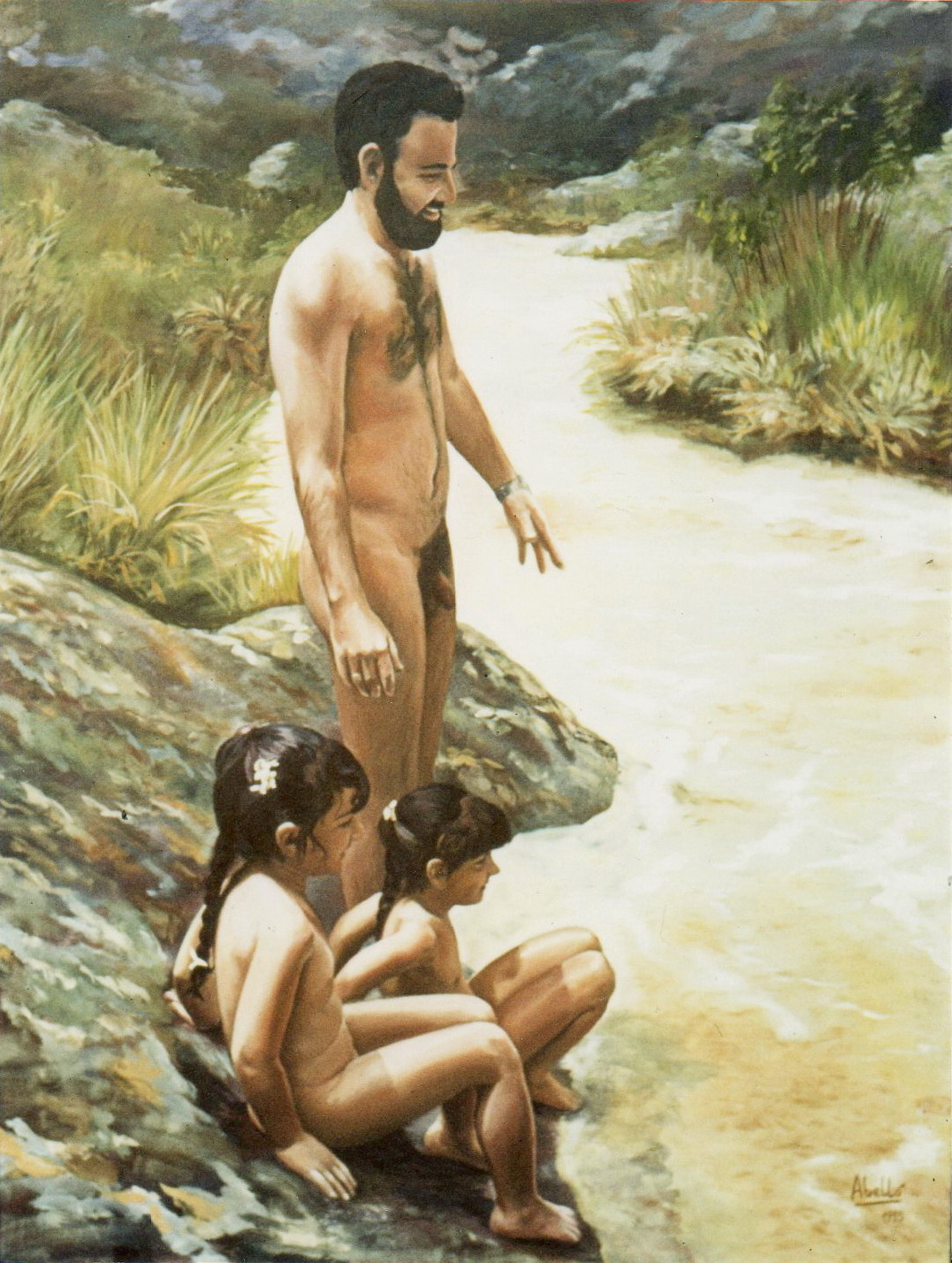 1985 Al riu Angel Yolanda Noelia 116 x 89 acrílic oli col. part.