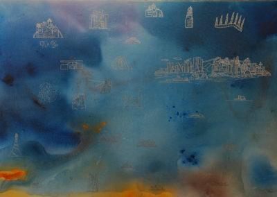 106- Llocs, ciutats - col·laboració Jordi Martorell T02051101 Téc. mixta 146 x 97 cm.
