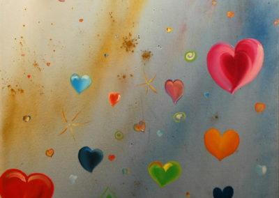 125- Amor en el cosmos T07121102 Téc. mixta 92 x 73 cm.