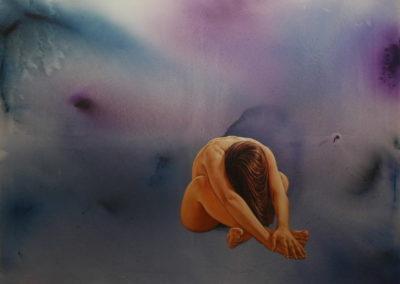 137- Estat meditatiu,orientació interna T11061301 Tác. mixta 146 x 114 cm.