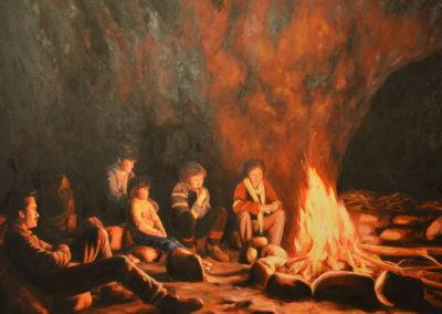 1986 El foc, cova del Montsant 116 x 89 cm. oli