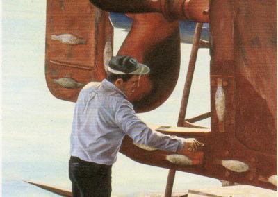 1987 Treballador del port T30099701 oli 195 x 130 cm.