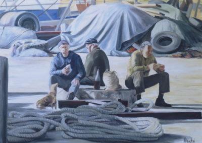 1991 Pescadors esmorçant T09039302 oli 100 x 73 cm.