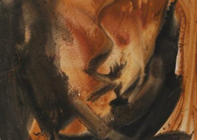 29- Gestual amb ocre i negre T02049203 acrílic 100 x 81 cm.