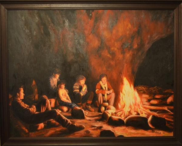 1986 fire, cave Montsant 50 F 116x89 cm. oil col.part