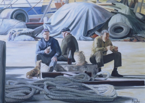1991 fisherman breakfast T09039302 oil 100 x 73 cm. private collection.