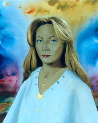 2002 The Goddess T08060201 mixed acrylic oil 81 x 65 cm.