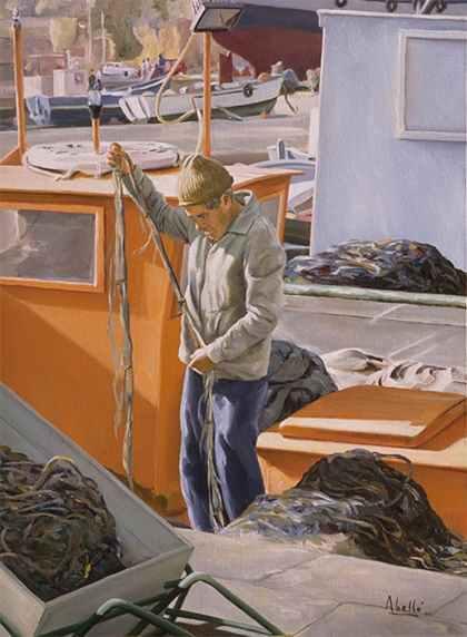 1992 fisherman VI T09039301 oil 61x50 cm. private collection.