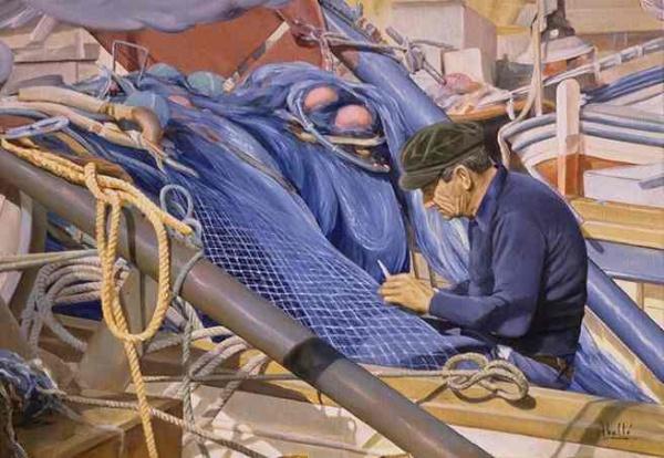 1992 fishermanVII oil 65x46 cm. private collecton.