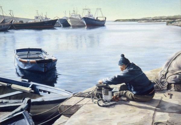 1987 fisherman I  92x65 cm. oil private collection.