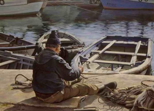 1987  fisherman II  92x73 cm. oil private collection.