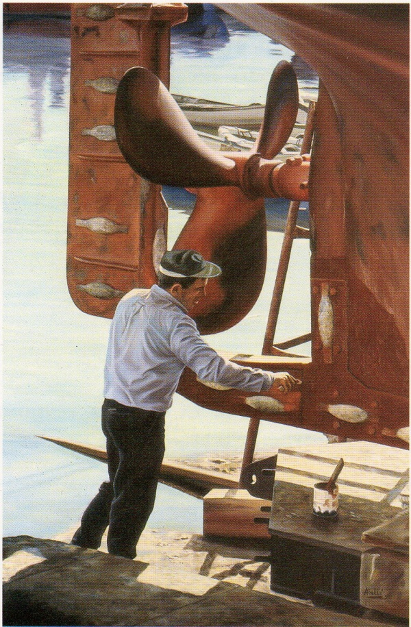 1987 port worker T30099701 oil 195 x 130 cm. private collection.